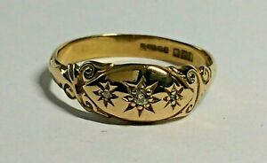 VINTAGE 18 CT YELLOW GOLD LADIES BOAT RING, SIZE R. SHEFFIELD.1981,  3.GRAMS,