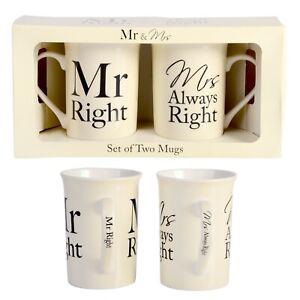 Mr & Mrs Right Coffee Mug Set - Wedding / Engagement / Anniversary Gift set