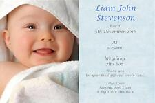 40 Personalised Baby Thank You Birth Announcement cards BOY ACFB 1st class post