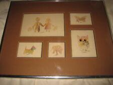 5 John Enslin Watercolors Matted & Framed Together Children Dog Butterfly Owl