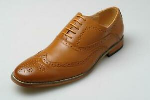 Mens Leather Lined Brogues Shoes Lace Up Casual Smart