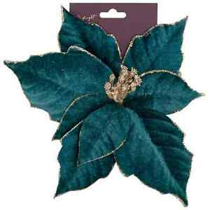 Stylish Clip On Poinsettia Ideal For Adding Colour & Glam On Your Xmas Tree Teal
