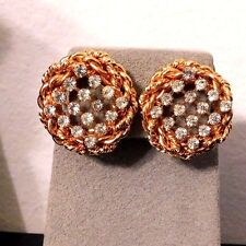 Vintage Gold Tone Rope Framed Rhinestone Button Clip Earrings