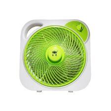 """Portable 12"""" Electric Box Fan (White/Green)"""