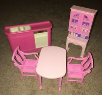 Vintage Barbie Dining Room Playset Dining Table Chairs Hutch Sink Kitchen