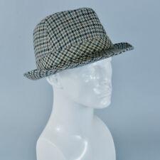 "Vintage Men's Brown Wool Blend Fedora Trilby Hat Mad Men Medium 57cm 22"""