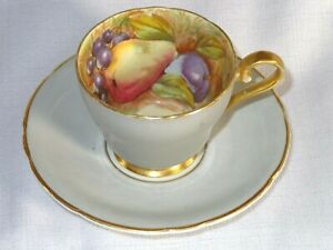 Aynsley Bone China Orchard Fruit N. Brunt Demi Tasse Cup And Saucer