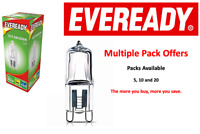 10 x 33w (40w) G9 Halogen ECO Capsule Dimmable Clear Bulb (Eveready) 240v