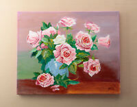 Roses in Vase Acrylic Painting on Canvas Hand Painted Flowers Art Abstract Art