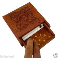Wooden CIGARETTE CASE DISPENSER Holder HAND CARVED With Brass Work Handicraft