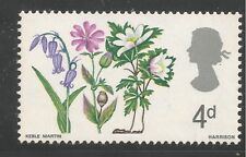 Great Britain #491 (A196) Vf Mnh 1967 4p Bluebell, Red Campion and Wood Anemone