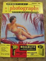February 1962 Practical Photography magazine -Pretty Lady in Bikini suit cover