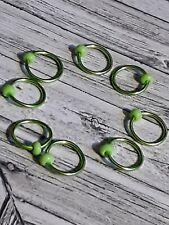 Knitting marker handmade beaded set of 8 Apple Green