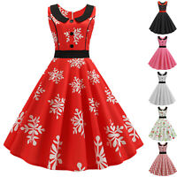 Women Vintage Sleeveless Retro 50s 60s Rockabilly Evening Party Prom Swing Dress