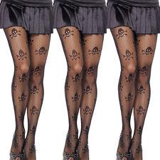 Women Black Fishnet Skull Lace Pattern Jacquard Stockings Pantyhose Tights Sexy