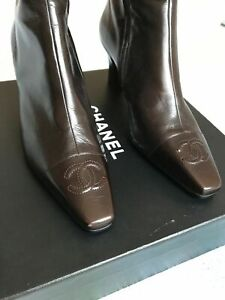 Chanel Black Leather CC Logo Ankle Boots Booties Brown Size 40
