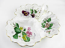 Beautiful Rare Lanternier Limoges Large Floral handpainted Trefoil Dish