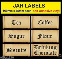 old english Tea Coffee Sugar Stickers scrolls Storage JAR LABELS adhesive vinyl