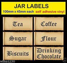 Old english tea coffee sugar autocollants scrolls jarre étiquettes adhésif vinyle