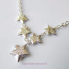 Super schönes Sternen Collier Anker Kette Silber beschichtet bis 46 cm tragbar