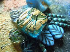Nobile quadrate Aqua Blue ORO FOIL exterior MURANO-Perla - 15x15mm -