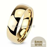 6mm Wide 14k Gold Plated Classic Comfort Fit Wedding Ring Band Size 5-13