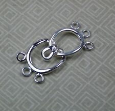 4 sets - Silver Tone Brass Hook-and-Eye Clasp, 3-strand