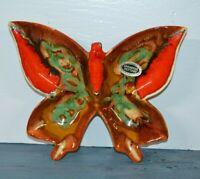 Butterfly Ashtray Vtg Dryden Arkansas Pottery Brown Turquoise Red Hot Springs 76