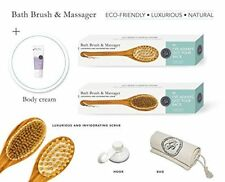 Exfoliating Body Brush & Back Scrubber w/ Shower Hook & Lotion by Grace & Stella