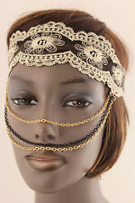 Women Girls Lace Elastic Head Band Fashion Mask Gold Black Multi Chains Jewelry