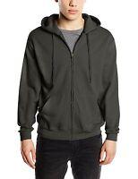 Fruit Of The Loom Zip Through Hooded Sweatshirt Hoody Hoodie Plain Jacket Grey