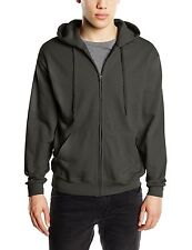 Fruit Of The Loom Zip Through Hooded Sweatshirt Hoody Hoodie Plain Jacket Grey