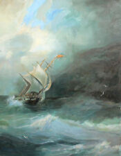 Impressionist seascape ship oil painting signed