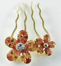 USA Hair Comb use Swarovski Crystal Hairpin  Flower Wedding Bridal Gold Brown 7