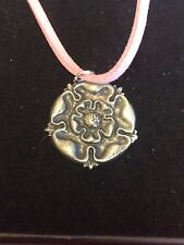 "TUDOR ROSE DR54 Made From Fine English Pewter On a 18"" Pink Cord Necklace"