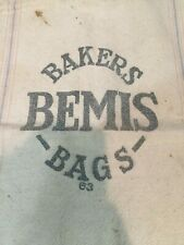 Vintage Bakers Bemis Bags 63 Feed Seed Sack Canvas Patched Hole