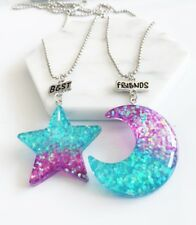 2PCS Kid Best Friends Necklace Star & Moon Pendant Necklace For Children Jewelry