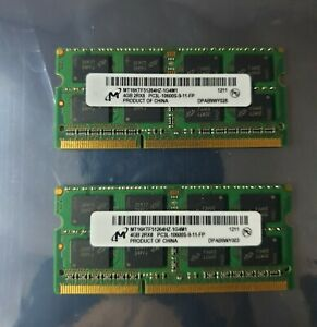 Micron 8GB 2X4GB DDR3 2RX8 1333MHz PC3L-10600S 204pin Laptop Memory RAM 1211
