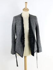Armani Exchange Womens Black Marl Soft Jacket With Faux Fur Lining Size S (Uk 8)