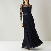 New COAST Odetta Navy Lace Pleated Maxi Prom Dress Ball Gown Size 12 S £149 BNWT