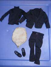 "1/6 12"" Black Suit / Sweater and shoes with Fat Suit Pad for kitbash or custom"