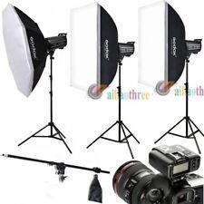 3Pcs Godox QT400IIM 400W HSS 1/8000s Studio Strobe Flash Trigger Softbox Kit