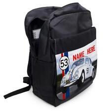 Personalised Backpack VW BEETLE HERBIE CAR School Laptop Bag Sports Black
