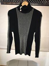 PELO Herren Pullover schwarz weiß gestreift Gr. XL Stehkragen neuwertig
