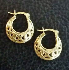 """Gold Sterling Silver Earrings Hoop Huggie XO Puffy .50"""" 3g Gold Plated 925 #594"""