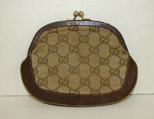 Authentic Vintage GUCCI Kisslock Coin Purse Clutch Wallet Brown Leather & Cloth