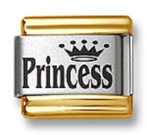 Italian Charm Bracelet Links Laser Princess Crown Gold Trim 9mm Stainless Steel