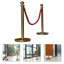 More details for 2xpolished gold stainless steel queue rope barrier posts with 1.5m rope-choose