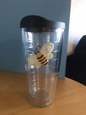 Adorable BEE Embroidered Patch Tervis Tumbler Black & Yellow 16oz With Lid