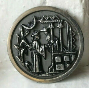 Antique white metal picture button~Asians at garden GATE~36mm